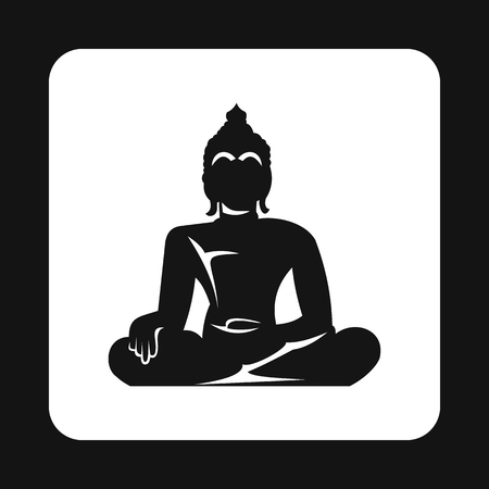 Buddha statue icon in simple style isolated on white background. Religion symbol