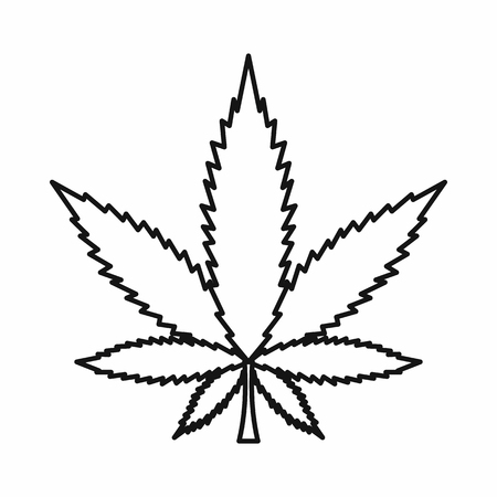 Cannabis marijuana leaf icon in outline style isolated on white background. illustration Stock Photo