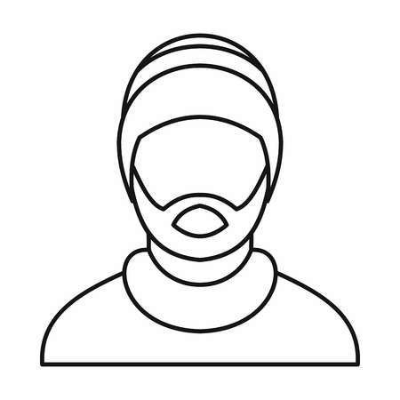 Man wearing rastafarian hat icon in outline style isolated on white background. illustration