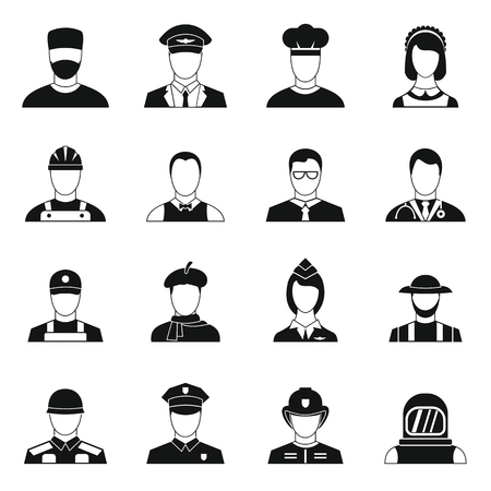 Professions icons set in simple style. People activities set collection illustration