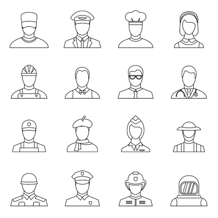 Professions icons set in outline style. People activities set collection illustration