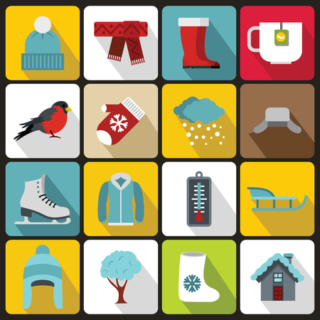 Winter icons set in flat style. Winter season elements set collection illustration 写真素材