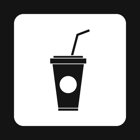 Paper cup for beverages with lid and straw icon in simple style on a white background illustration