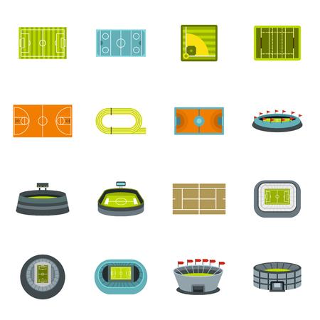 Sport stadium icons set, flat style