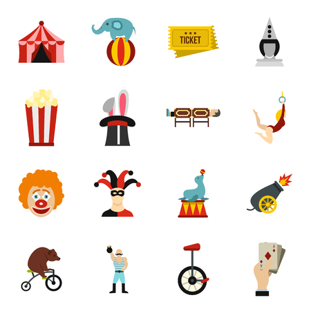 Circus entertainment icons set, flat style Stock Photo
