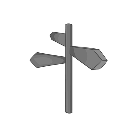 Direction signs icon, black monochrome style