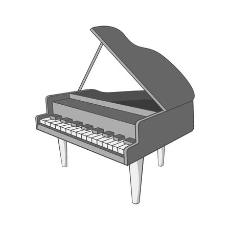 Piano icon, black monochrome style