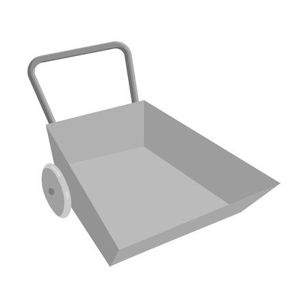 Garden wheelbarrow icon, black monochrome style