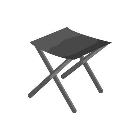 Fishing folding chair icon, black monochrome style