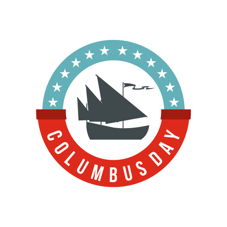 Columbus Day badge icon, flat style
