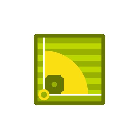 Baseball field icon, flat style Stock Photo