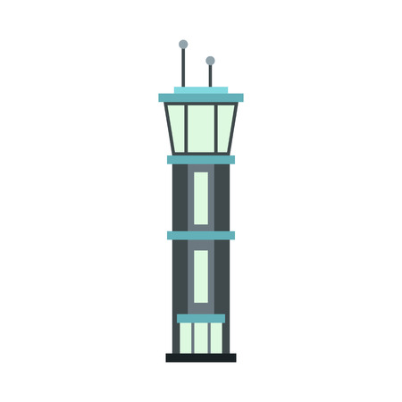 Airport tower icon in flat style on a white background illustration