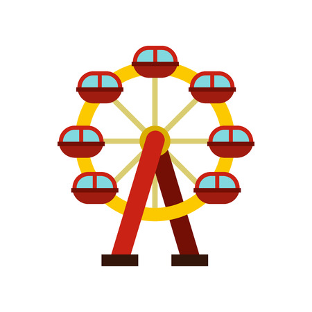 Ferris wheel icon in flat style on a white background illustration