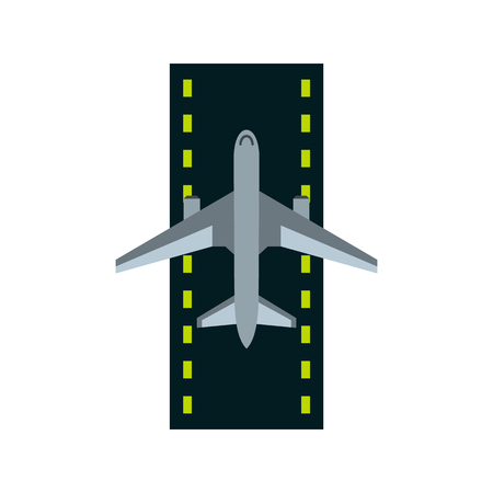 Airstrip with airplane icon in flat style on a white background illustration