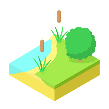 River bank fishing place icon, cartoon style Stock fotó