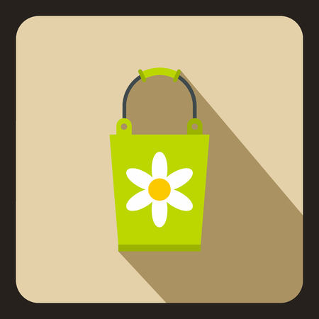 Green bucket with flower icon, flat style 写真素材