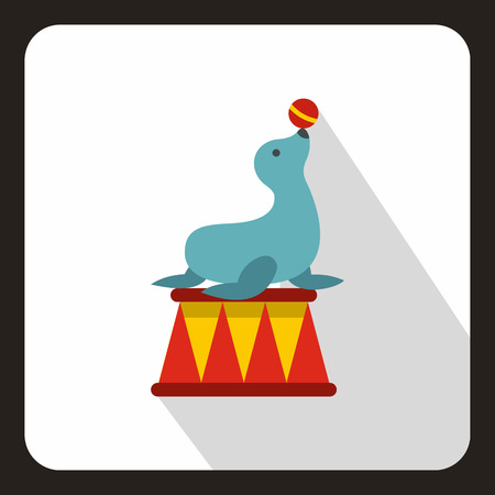 Circus seal with a bal icon, flat style