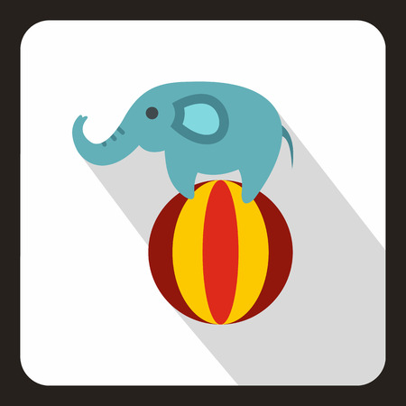 Elephant balancing on a ball icon, flat style