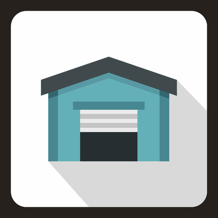 Garage icon in flat style
