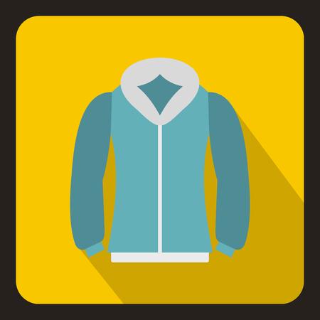 Blue mens winter jacket icon, flat style Stock Photo