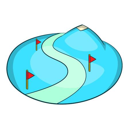 Ski slope of the snow mountain icon, cartoon style