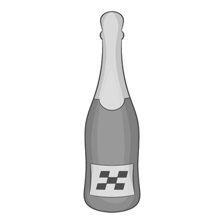 Bottle of champagne icon, black monochrome style