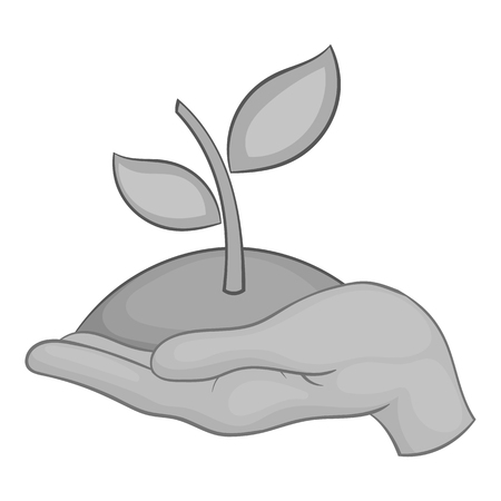 Hand holding sprout icon, black monochrome style Stock Photo