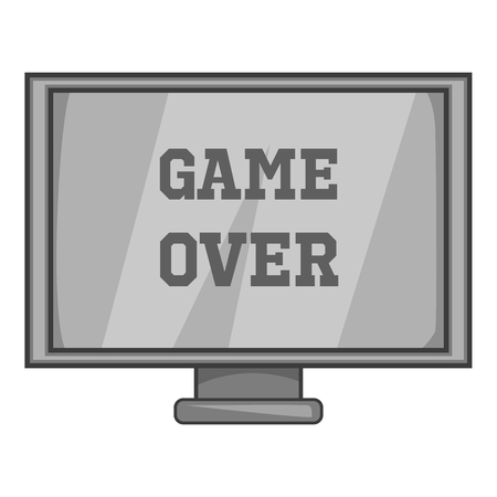 Monitor with word game over icon in black monochrome style isolated on white background. Play symbol illustration Stock Photo