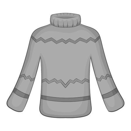 Mens sweater icon in black monochrome style isolated on white background. Clothing symbol illustration