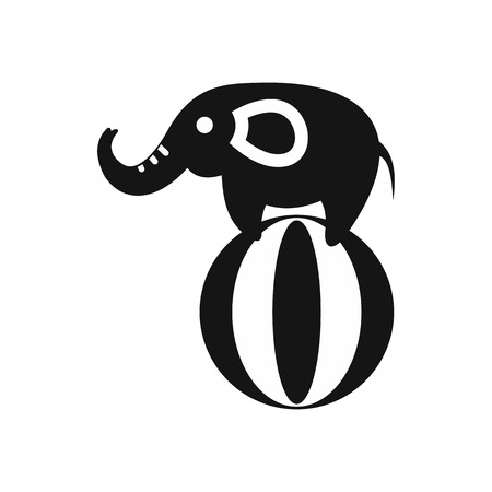 Elephant balancing on a ball icon in simple style on a white background illustration