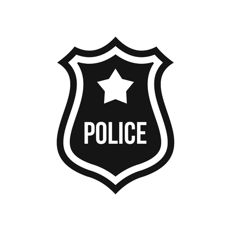 Police badge icon in simple style on a white background illustration Stock Photo