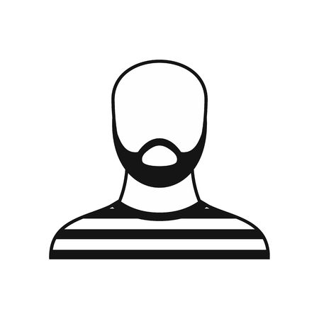 Bearded man in prison garb icon in simple style on a white background illustration