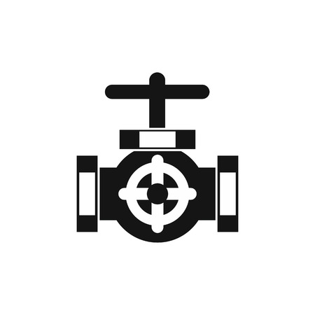 Pipe with a valves icon in simple style on a white background illustration Banque d'images - 106483099