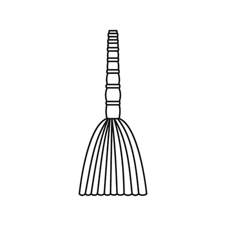 Besom icon in outline style isolated on white background. Cleaning symbol illustration