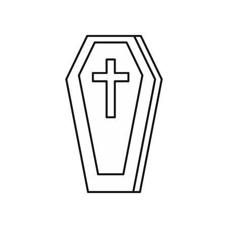 Coffin icon in outline style isolated on white background. Death symbol illustration