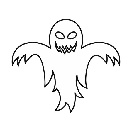 Ghost icon in outline style isolated on white background. Entertainment symbol illustration 版權商用圖片
