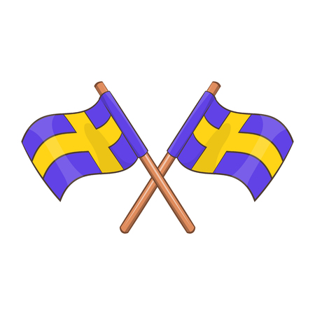 Crossed swedish flags icon in cartoon style isolated on white background illustration
