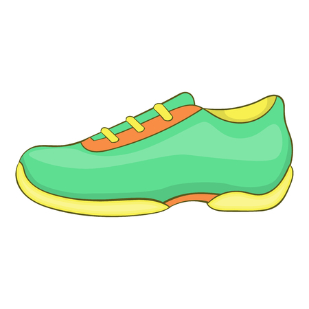 Green sneakers icon in cartoon style isolated on white background. Shoes symbol illustration Stock Photo