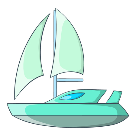 Speed boat with sail icon in cartoon style isolated on white background. Maritime transport symbol illustration