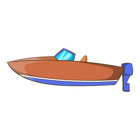 Motor boat icon in cartoon style isolated on white background. Maritime transport symbol illustration Stok Fotoğraf