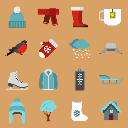 Winter icons set in flat style on a sandy brown background. Winter season elements set collection illustration