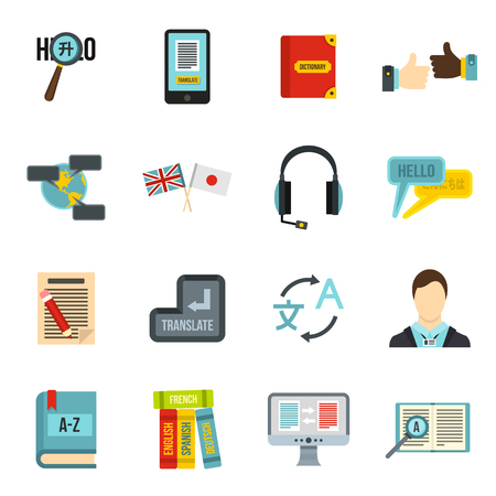 Learning foreign languages icons set in flat style. Language interpreter set collection illustration
