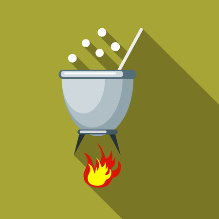 Witches cauldron with potion icon in flat style isolated with long shadow illustration