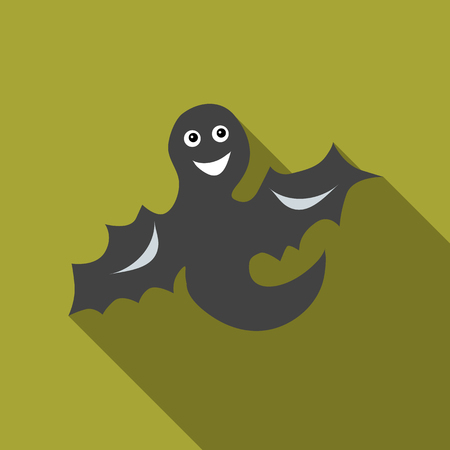 Funny halloween ghost icon in flat style isolated with long shadow illustration Reklamní fotografie