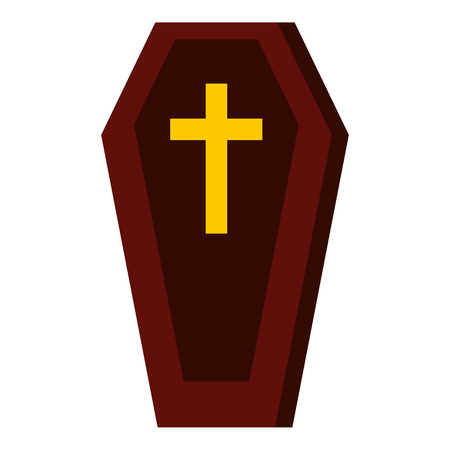 Coffin icon, flat style