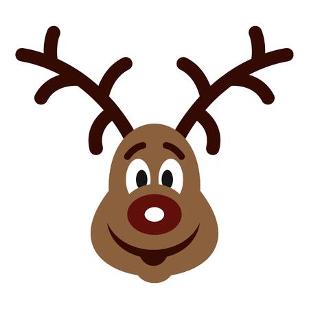 Christmas deer icon, flat style