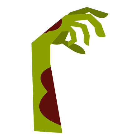 Zombie hand icon, flat style