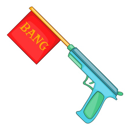 Pistol with bang flag icon, cartoon style Stock Photo