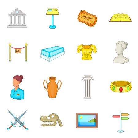 Museum icons set, cartoon style