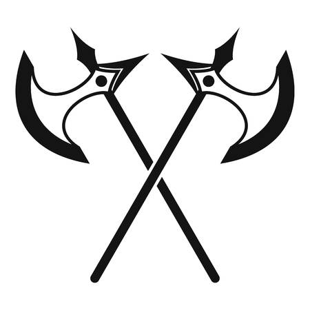 Crossed battle axes icon, simple style